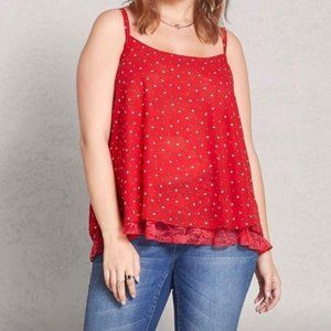 Lovesick. Heart Laced-Back Cami. Red. 1X